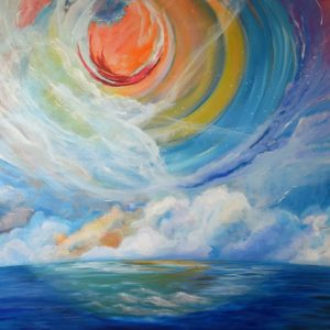 quantum physics explained, contemporary seascape painting, circles of time
