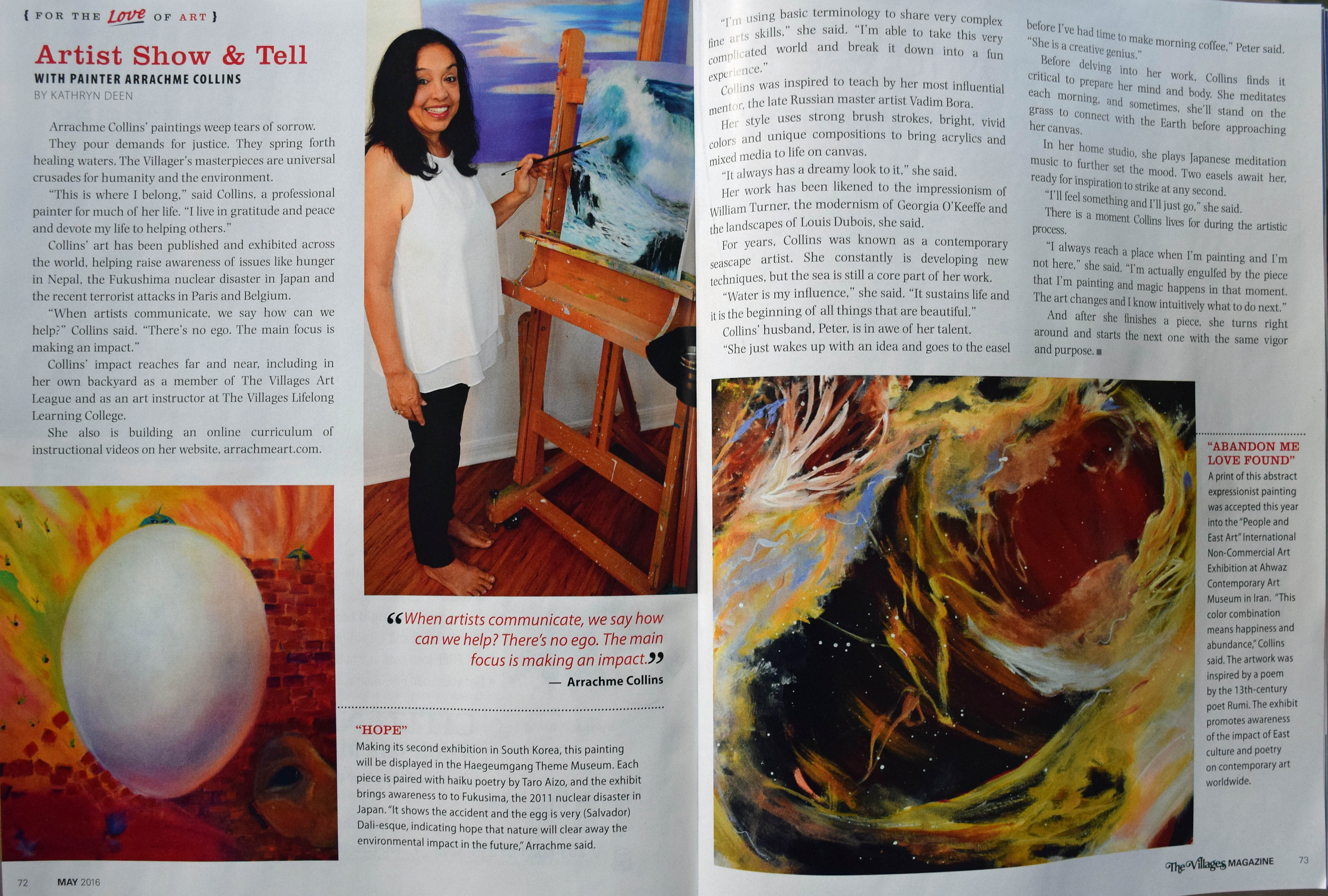 Article In The Villages Magazine Arrachme Art