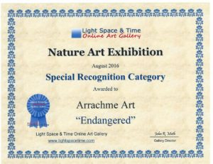 Award for - Endangered. Save our gentle giants. The sweet elephant